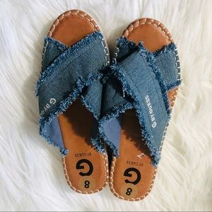 New Guess by G women's size 8 denim wedge slippers